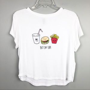 """Divided Cropped """"Best Day Ever"""" White T-shirt"""
